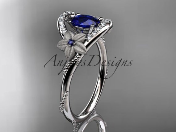 14kt white gold diamond unique floral engagement ring, wedding ring ADLR166  with natural royal  blue sapphire center stone