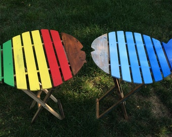 Here fishy fishy fishy.  A reclaimed wood patio table