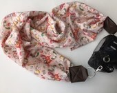 Scarf Camera Strap - camera strap for dSLR digital cameras - soft peach and pink butterfly (photographer gift)