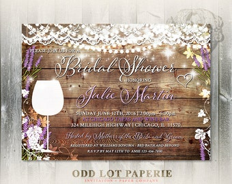 Rustic Bridal Shower Invitation, Vineyard Wedding Shower Invite, Wine Tasting, Lavender, Wedding Invitation Printable, DIY Invite, Lace