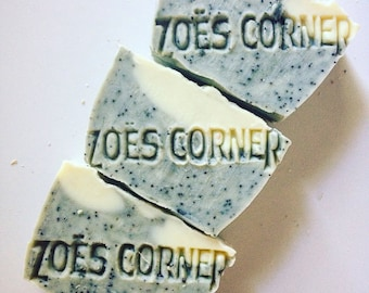 Soap - Peppermint Pumice -100 % Natural Handmade Cold Process Soap Savon From Scratch- SLS and Paraben Free