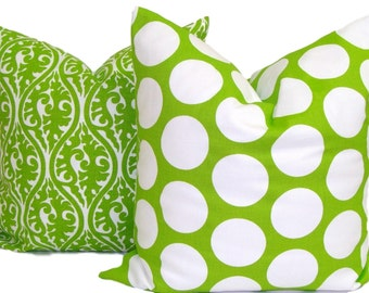 GREEN PILLOW SET. 18x18, 16x16 or 20x20 inch.Decorative Pillow Covers. Home Decor.Chartruese Green.Green Cushions.Christmas.Green Pillows