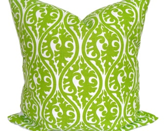 CHRISTMAS PILLOWS.GREEN Pillow Cover.18x18 inch.Decorative Pillows.Throw Pillow Cover.Home Decor.Chartreuse.Damask.Cushion.Floral.Christmas
