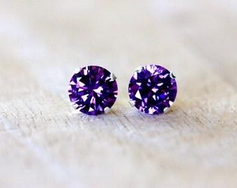 2 carat amethyst cz stud earrings   large purple cubic zirconia studs   post earrings   sterling silver studs   bridesmaid gift   girlthree