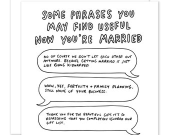 Useful Phrases Now You're Married Wedding Card
