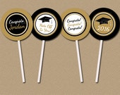 Personalized Black and Gold Graduation Cupcake Toppers - DIY Graduation Party Printables - Class of 2016 Graduation Cupcake Picks Download