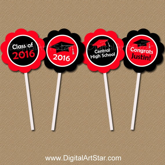Personalized DIY Graduation Cupcake Toppers - Class of 2016 - Red and Black - Custom Colors - Graduation Printable Party Circles