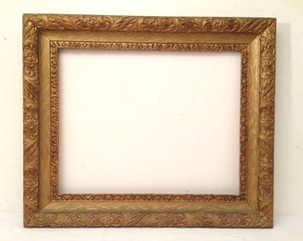 antique vintage wood w gesso gold gilded wood frame 16x20 opening
