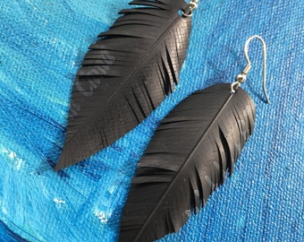 SPARTACUS - Inner Tube Jewelry Vegan Feather Nature Inspired Gift Bike Tire Jewelry Slow Fashion Feather Earrings Sustainable Earrings