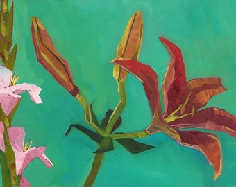 Red Lily and Glads Original Oil Painting
