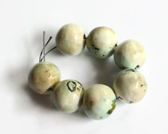 Ceramic beads made in South Africa, pitfired beads, Earth Butter Beads, 7 HANDMADE large African beads