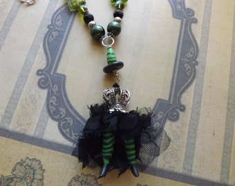 Wicked Witch Legs Witch Hat Halloween Pendant Necklace