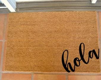 HOLA CORNER COIR Doormat  ... Hand Painted on a Coir Mat