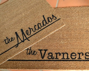 PERSONALIZED NAME  Mat in Typewriter or Honey Cursive Font ... Natural Coir Fiber... 2 SIZES