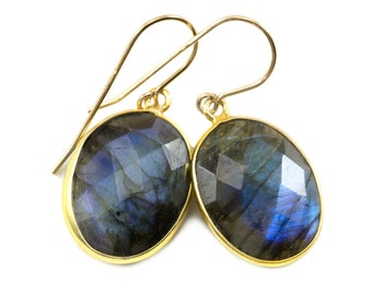 AAA Blue Flash Labradorite Earrings Faceted Large Oval Bezel 14k Gold Filled Earrings