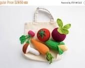 Crochet Veggies with Tote, Rattles, Set of 6 - beet, corn, radish, tomato, carrot, mushroom - play food - FrejaToys
