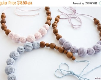SALE Breastfeeding Necklace in Solid Pastel Colors of your choise- gray, pink, purple - FrejaToys