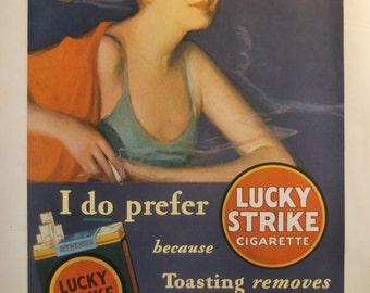1930 LUCKY STRIKE CIGARETTE Ad Original Vintage Magazine Ad Additional Ads Ship Free Ready To Frame