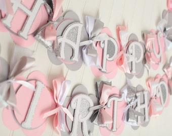 Happy Birthday Banner Pink, Grey, Silver, White Snowflake Winter Wonderland