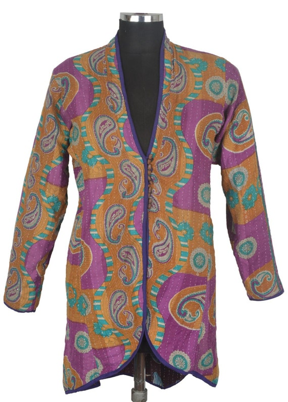 Xl vintage kantha long jacket reversible gudri rally coat