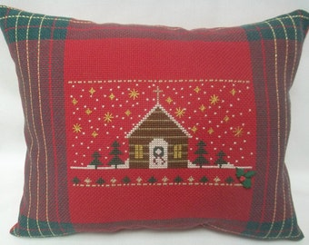 Christmas Pillow Cross Stitch Winter Church