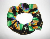 St. Patricks Day Pot of Gold Shamrock sparkle Fabric Hair Scrunchie, women's accessories, holiday green scrunchies, gifts for her, accessory