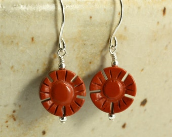 Carved Red Jasper Earrings, Drop Earrings, Flower Earrings, Red Earrings, Valentine's Day Gift