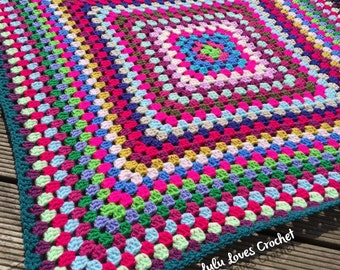 Bright granny square crochet blanket