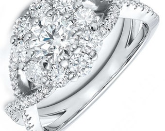 GIA Certified Round Cut Diamond Engagement Ring 3.75ctw Pave Set 18k Gold