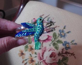 Hand painted Teal Turquoise Rhinestone Hummingbird Cuff Bracelet Gorgeous
