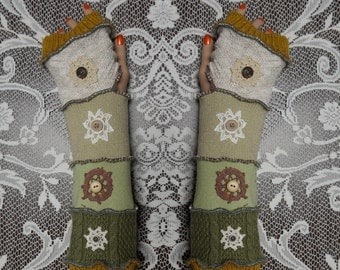 Arm warmers, Fingerless, armwarmers, elf coat, Gloves, patchwork, Upcycled, Cosplay, Gift, mittens, embroidered, knit, size XL, size XXL