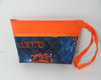 Cosmetic Bag - Wallet - Pencil Case - Zippered Pouch - NFL Toiletry Bag - Chicago Bears - Makeup Bag - Travel Bag - Zippered Wallet