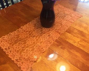 Tablerunner, Vintage Harvast Orange lace table runner for christmas, holiday, housewares, home decor, valentines by MarlenesAttic