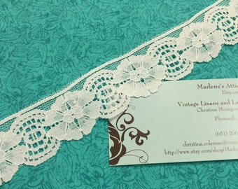 1 yard of 1 1/4 inch White Chantilly lace trim with for bridal, baby, lingerie, accessories by MarlenesAttic - Item 8P