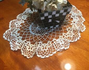Vintage 20 x 16 inch White hand crochet doily for crafts, shabby chic, housewares, linen, trim, valentines, by MarlenesAttic