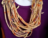 Recycled Knotted Tie Dyed T Shirt Necklace Scarf