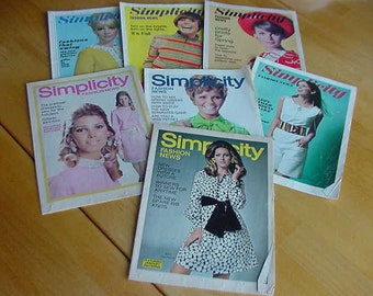 8 Vintage 1960s Simplicity Fashion News Pattern Booklets, Sewing Ephemera, Collectibles, Scrapbooking