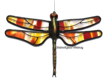 Stained Glass DRAGONFLY Suncatcher,  Red , Sunflower Yellow , Terra Cotta , & White Wings ,  USA Handmade Original