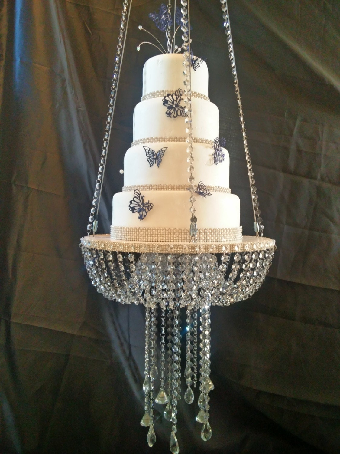 faux crystal chandelier style drape suspended swing cake stand, Lighting ideas