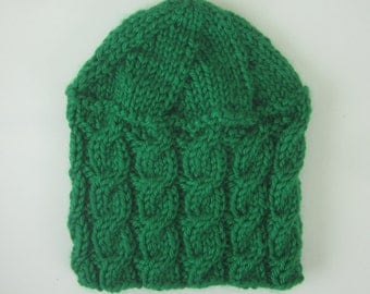 Hand Knit Merino Wool Blend Cable Hat - Kelly Green - Winter Accessories - Winter  Fashion