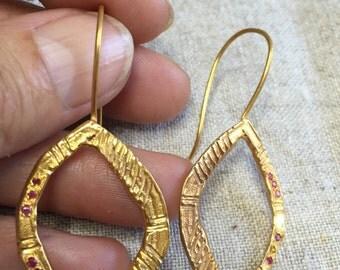 Brass, gold plated ethnic hoop, ruby earrings