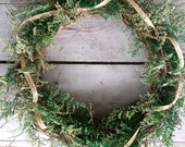 Grapevine Wreath - Winter Evergreen. Rustic woodland natural organic seasonal. greenery twigs burlap ribbon