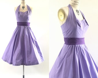 1950s vlv cotton lavender purple halter dress / 50s full skirt dress / party dress / fit & flare / xs•s