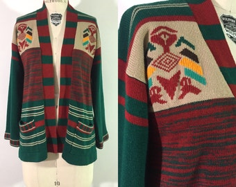 70s space dyed sweater / 1970s kettle dye cardigan / southwest boho sweater  / knit bell sleeved wrap sweater / s•m