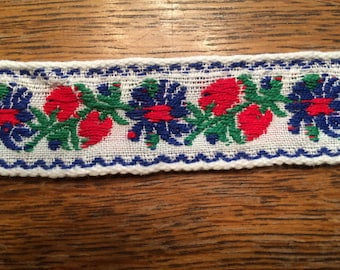 Blue and Red Floral Embroidered Trim, Blue Flowers, Red Berries on White - 1 Inch Wide - 3 Yards