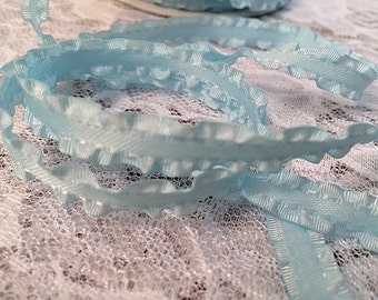 Baby Blue Double Ruffle Trim, Light Blue Ruffled Ribbon - 5 Yards