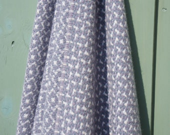 Reversable 'Heirloom' Lambswool Blanket -  Purple