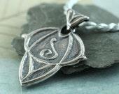 Silver Elven Pendant - Elvish Art Nouveau Style - Choose your rune