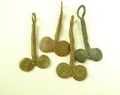 4 pcs unique tribal brass metal African trade bead scarce old fertility pendant