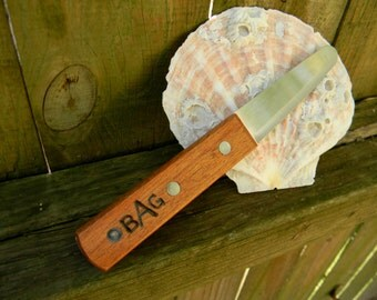 Monogrammed Wooden Oyster Knife or Clam Shucker Unique Wedding Favors Placeholders or Groomsmen Gifts